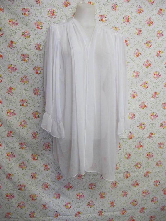 Chiffon Robe Short White Peignoir Sheer Nylon Robe