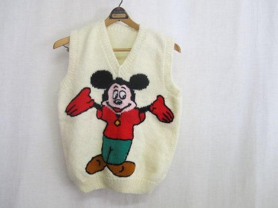 Vintage Handmade Sweater Vest Knit Vest MICKEY MOU