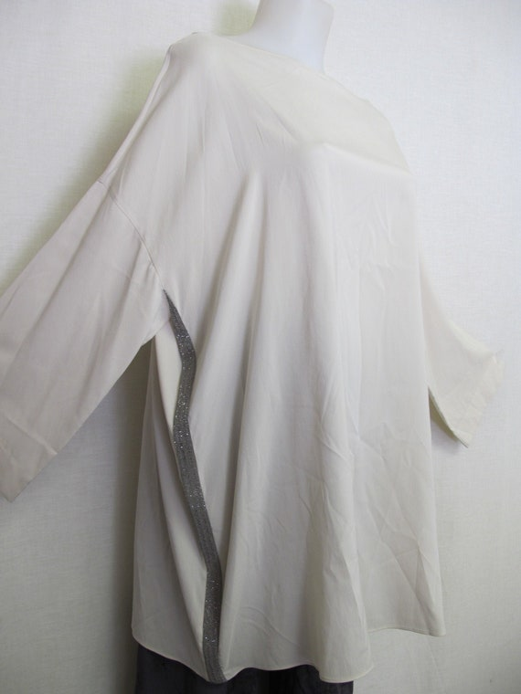 Brunello Cucinelli White Silk Tunic Blouse XL Plus