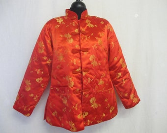 Embroidered Jacket Asian Jacket Red Satin Chinese Jacket 1960's