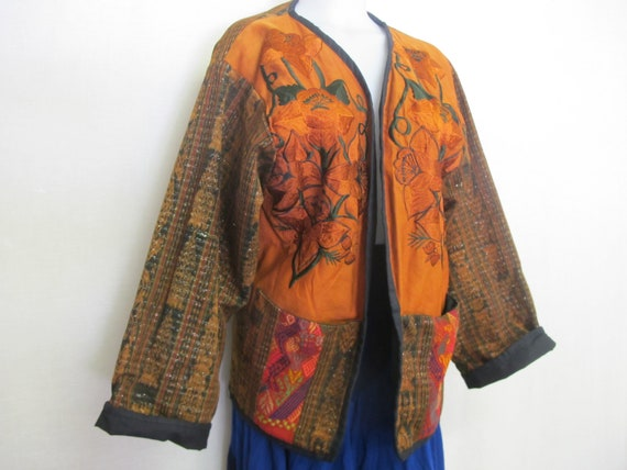 Guatemalan  Embroidery Jacket Art to Wear Fall Col