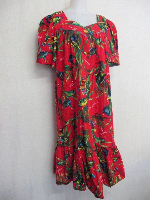 Hawaiian Dress Cotton Floral Caftan 1980s Muumuu 2