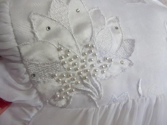 Chiffon Robe Short White Peignoir Sheer Nylon Rob… - image 6