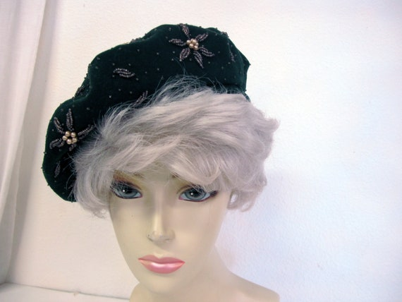 1930's Beret Beaded Beret Wool Hat Livingston's Sa