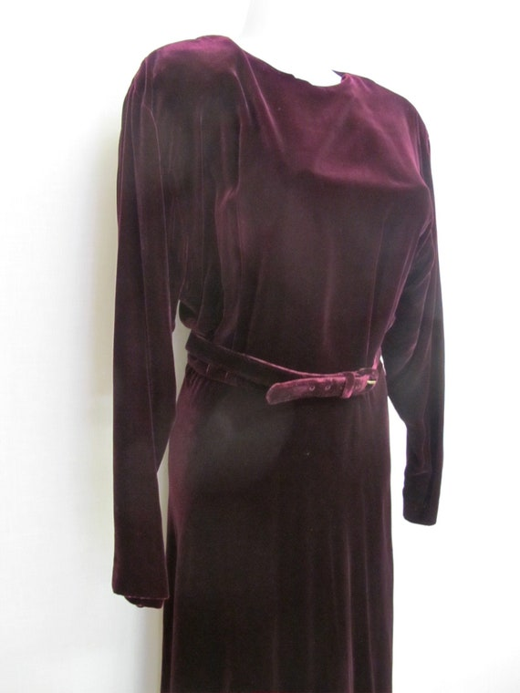 Goth Velvet Dress Maxi  Burgundy Velvet Dress Boh… - image 1