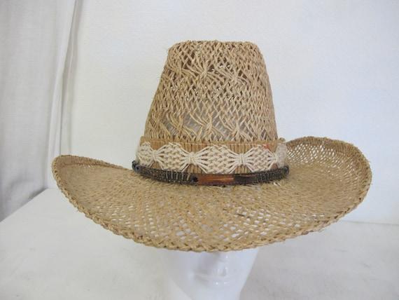 Straw Cowboy Hat Hippie Hat Summer Cowboy Rockabi… - image 2