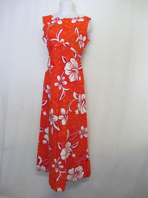 1960's Hawaiian Dress Barkcloth Summer Cotton Dres