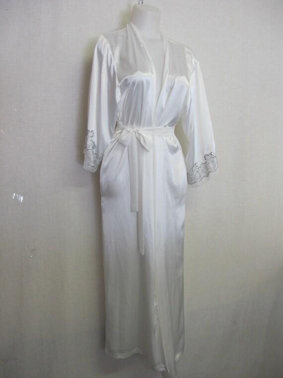 White Satin Robe Kimono Style Full length Robe Med