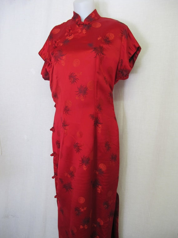 Red Satin Chinese Cheongsam Dress 1950 Chinatown S