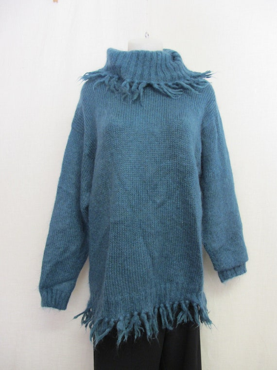 Mohair Sweater Fuzzy Slouch Muted Turquoise Sweate