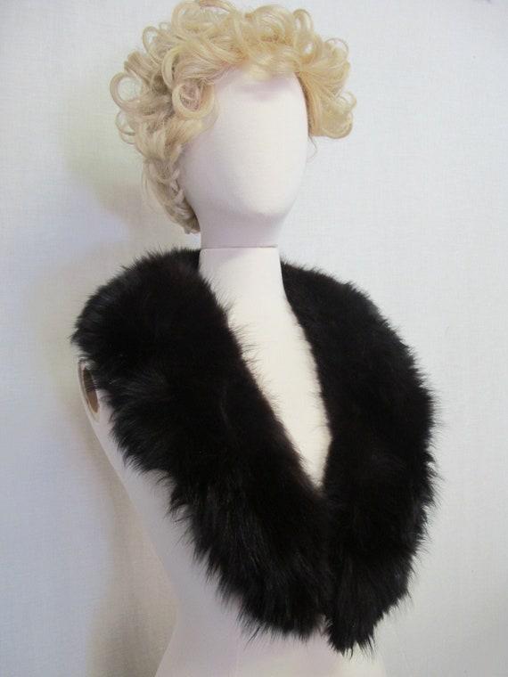 Black Fox Collar Wrap Large Fur Collar Shrug Fox F