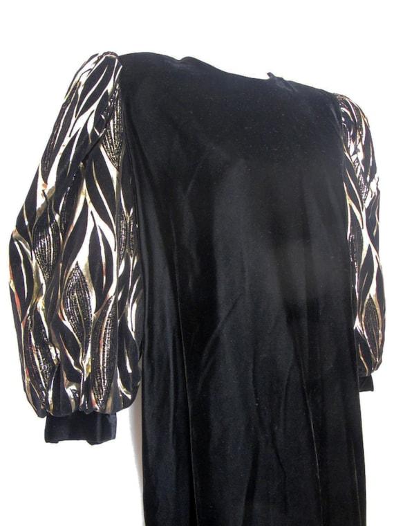 Long Black Velvet Metallic Party Dress 1980 Dress… - image 1
