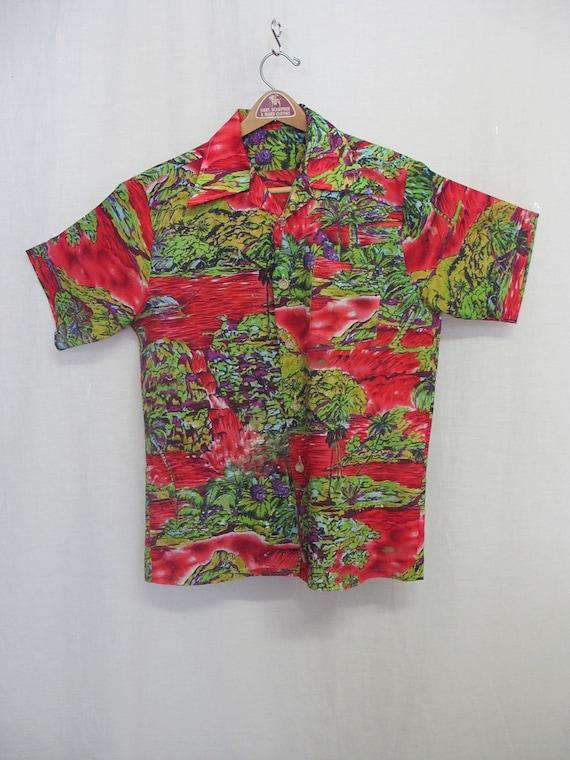 1960 plage hawaïenne chemise Vintage Hawaiian Shirt Shirt Hawaiian Bum Tiki Party Mid Century chemise 091103