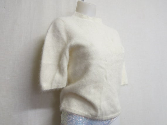 Angora Sweater White Angora Sweater Pinup Cropped