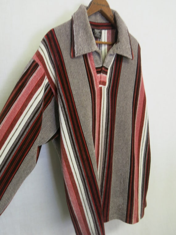 Velour Shirt 1970's Velour Stiped Pullover Sweater