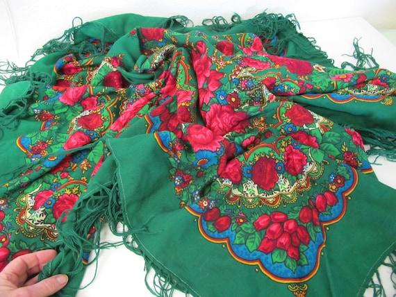 Fringe Shawl Floral Shawl Challis Shawl Russian Ch