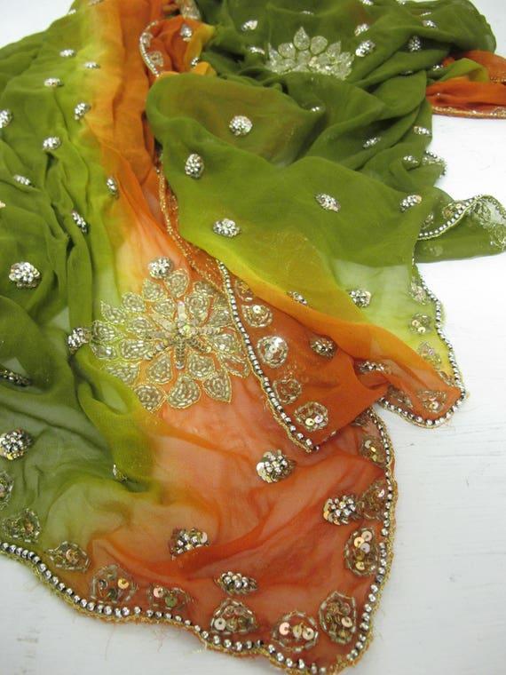 Beaded Sari Shawl Ombre Chiffon Shawl Embroidered