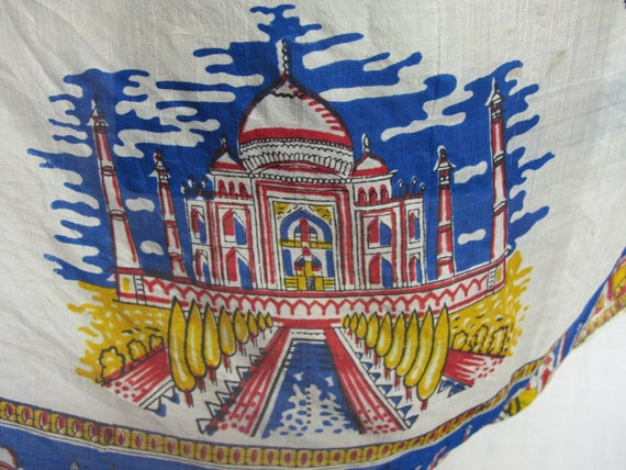 Travel Souvenir Scarf India 1950s Silk Scarf Band… - image 6