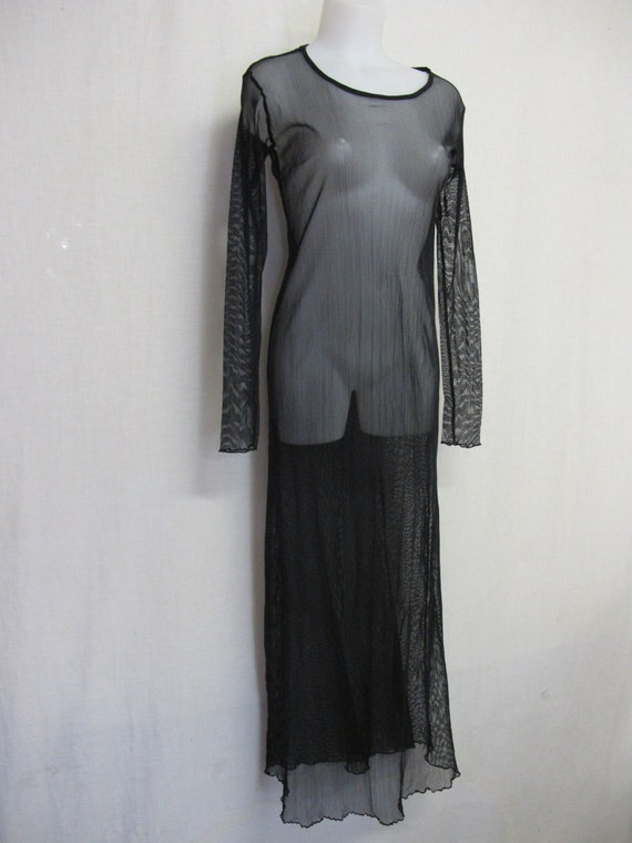 Goth Black Lace Dress Sheer Net Long Sleeve Lace S