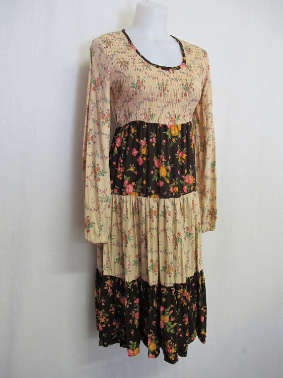 Prairie Dress Steampunk Dress Hippie Dress Patchwo