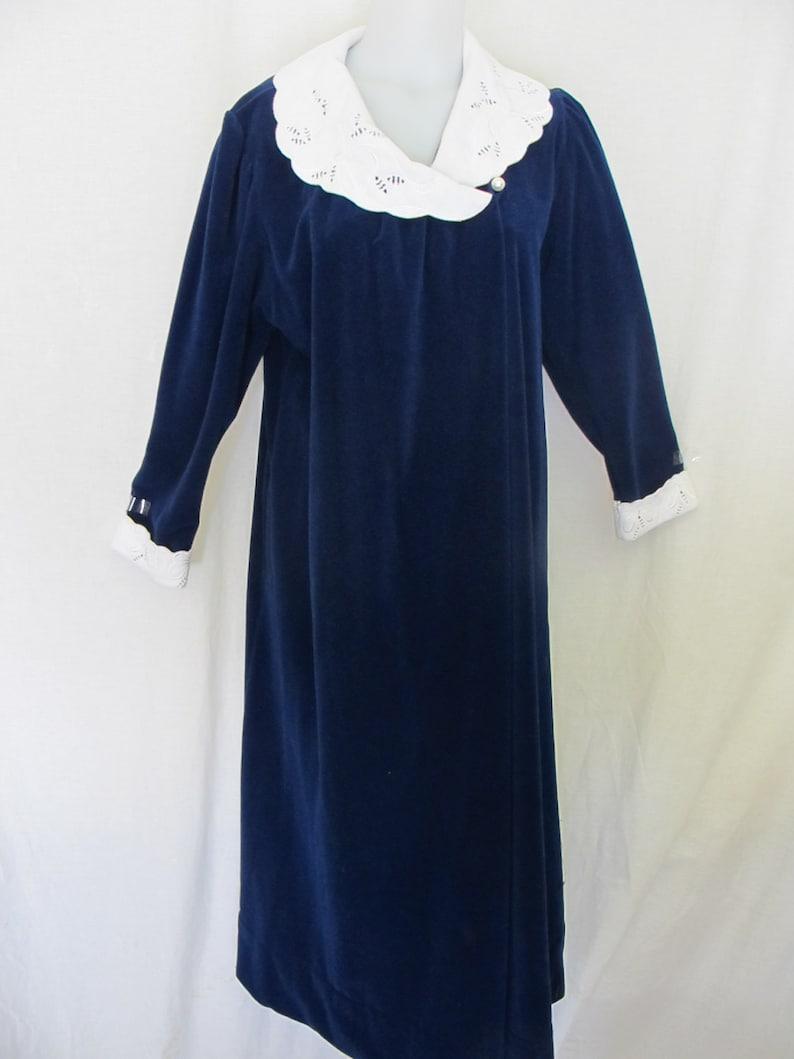 Vanity Fair Robe 1970's Plush Robe Navy Blue Robe Velour image 0