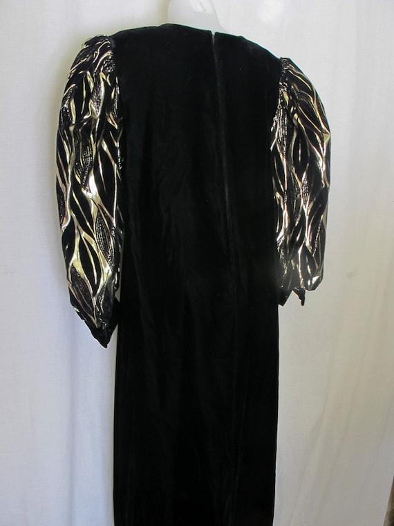 Long Black Velvet Metallic Party Dress 1980 Dress… - image 4