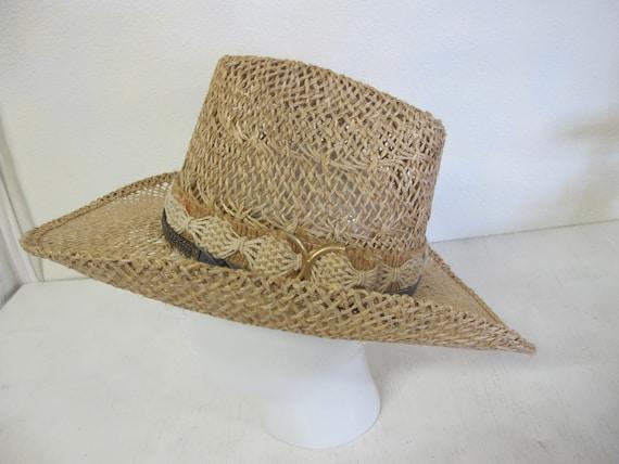 Straw Cowboy Hat Hippie Hat Summer Cowboy Rockabil