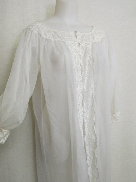 Mad Men Chiffon Robe Sheer White Peignoir Sheer Ny