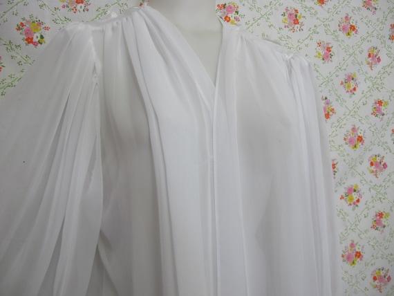 Chiffon Robe Short White Peignoir Sheer Nylon Rob… - image 3