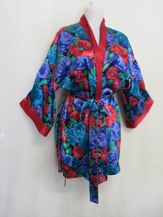 Satin Kimono Robe Floral Satin Robe Loungewear Vic