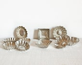 Set of 9 vintage chocolate mold - Small chocolate tins - Rustic and French country kitchen home decor French chocolaterie French collectible