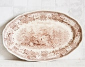 Antique French VILLEROY BOCH oval serving dish platter Brown transferware pattern - Shabby chic interior