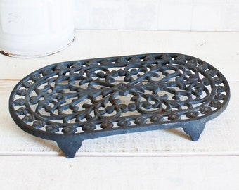 Vintage French Black Cast Iron Trivet || Enameled Kitchen Decor - French Enamelware Decor - Country Farmhouse