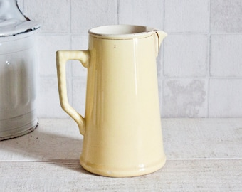Lovely Vintage French CHOISY-LE-ROI Pastel Yellow Pitcher - Shabby Chic Style