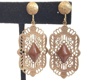 Vintage Filigree Czech Glass Dangle Earrings 1920s Art Deco Brown Drop Earrings Antique Estate Jewelry Birthday Gift for Her