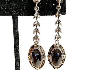 Vintage BIRKS Sterling Silver Onyx Earrings 1920s Art Deco Marcasite Black Stone Dangle Earrings Wedding Bridal Antique Estate Jewelry Gift