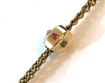 Vintage Victorian Slide Chain Necklace Long Gold Filled Pocket Watch Chain Edwardian Seed Pearl Muff Guard Chain Antique Estate Jewelry Gift
