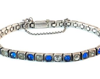 Antique Sterling Silver Rhinestone Line Bracelet 1920s Art Deco Blue & Clear Paste Stacking Bracelet Vintage Bridal Wedding Estate Jewelry