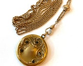 Antique Victorian Photo Locket Slide Chain Necklace Art Nouveau Gold Filled Rhinestone Picture Locket Watch Chain Vintage Estate Jewelry