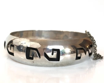 Vintage Taxco Sterling Silver Bracelet Mexican Eagle Stamp 1960s Wide Aztec Bangle Mexico Southwestern Antique Estate Jewelry Gift for Her