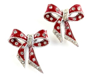 Vintage Red Enamel Rhinestone Fur Clip Pair 1940s Art Deco Silver Rhodium Enameled Bow Fur Clips Set 2 Antique Estate Jewelry Gift for Her