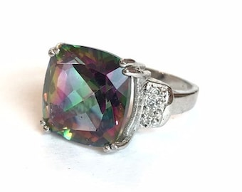 NATURAL Mystic Topaz Diamond Sterling Silver Ring Large Cushion Cut Gemstone Anniversary Ring Size 4 Birthday Gift for Her Estate Jewelry