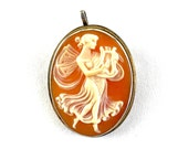 Vintage Carved Shell Cameo 900 Silver Pendant Brooch Pin 1 of 3 Graces Woman Angel w Harp Romantic Antique Estate Jewelry Gift for Her