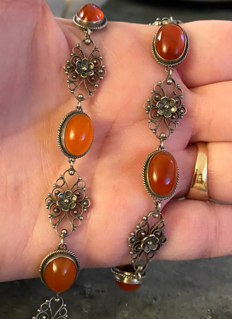 Antique Carnelian Sterling Silver Filigree Necklace Vintage Victorian Italian Cannetille Cornelian 15.5 Choker Edwardian Estate Jewelry