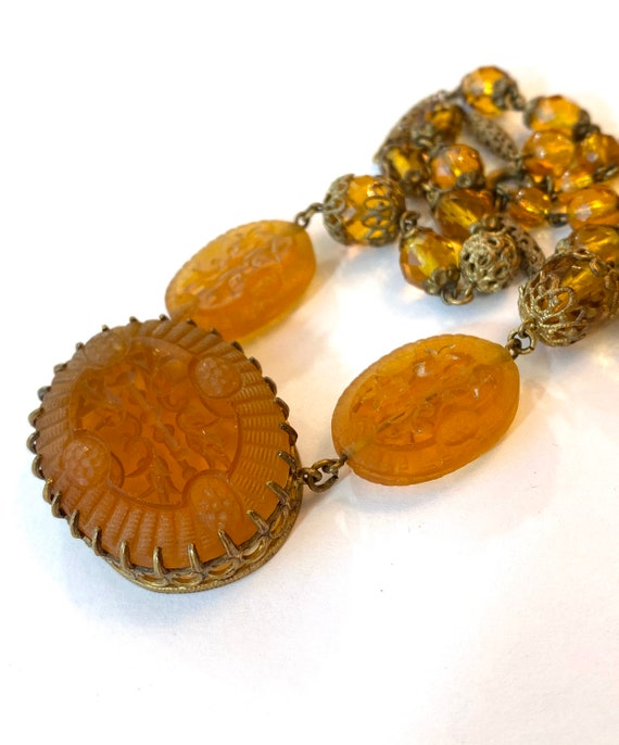 Vintage Czech Amber /& Brown Art Glass Necklace