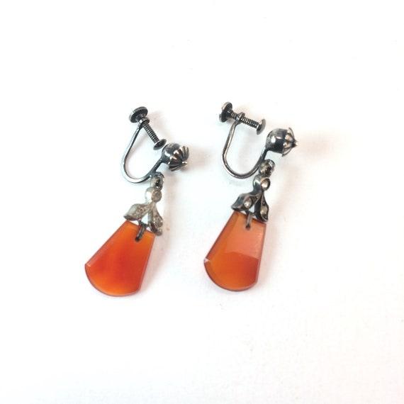Vintage Art Deco Carnelian Paste Dangle Earrings F