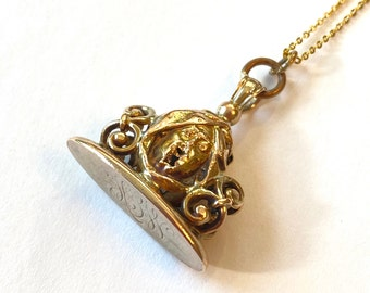 Antique Victorian Gold Filled Fob Necklace Monogrammed Sheik w Turban Charm Pendant Layering Necklace GF Chain Vintage Estate Jewelry