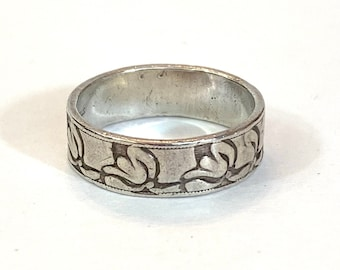 Vintage Art Nouveau Sterling Silver Water Lily Ring Antique Victorian Sterling Floral Band Size 7 Estate Jewelry Birthday Gift for Her