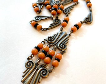 Vintage French Art Deco Sterling Silver Necklace 1920s Black & Coral Glass Beaded Necklace Antique Estate Jewelry Birthday Gift For Women