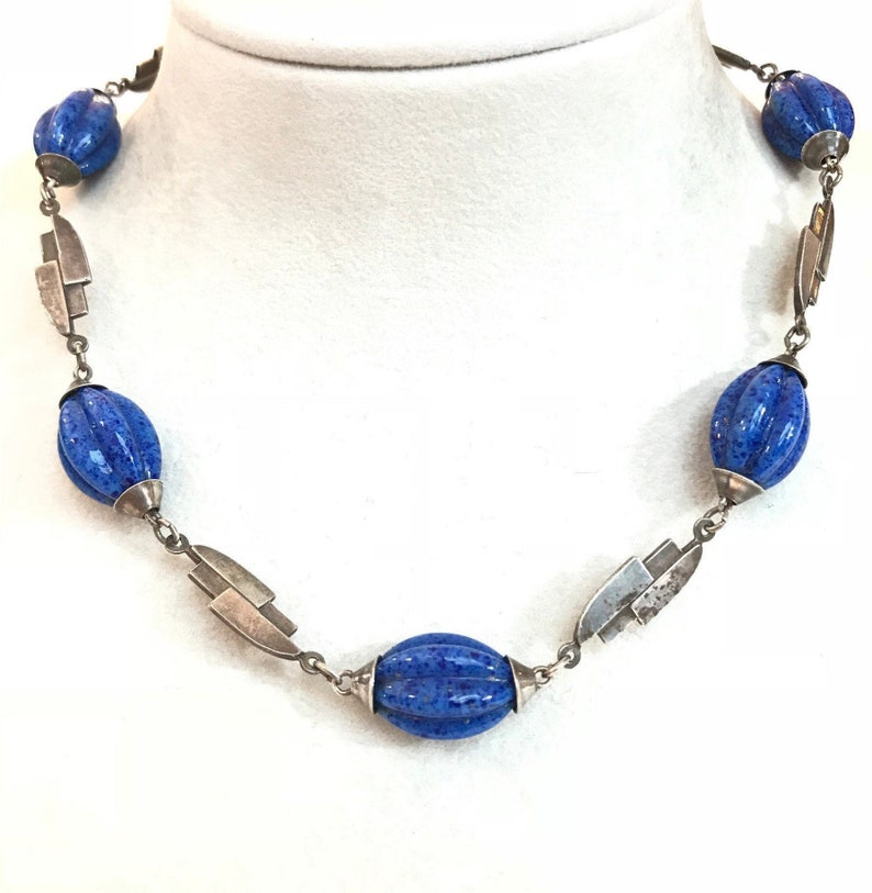 Antique Lapis Lazuli Sterling Silver Necklace 1920s  1930s image 0